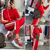 FENDI Women Casual Print Long Sleeve Trousers Set Two-Piece red