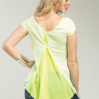 Green & White Cap Sleeve Top with Flare Up