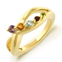 Multi Gemstone Journey Ring in Gold Plated Sterling Silver
