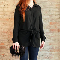 Maxine Tie Front Tunic Blouse - Black
