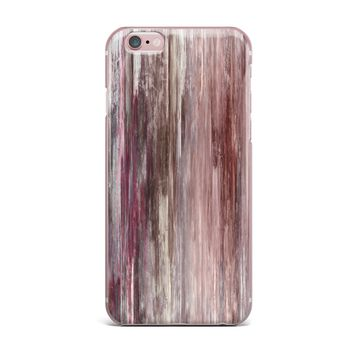 """Ebi Emporium """"Waterfall Blur, Blush Rust"""" Pink Maroon Abstract Stripes Painting Mixed Media iPhone Case"""
