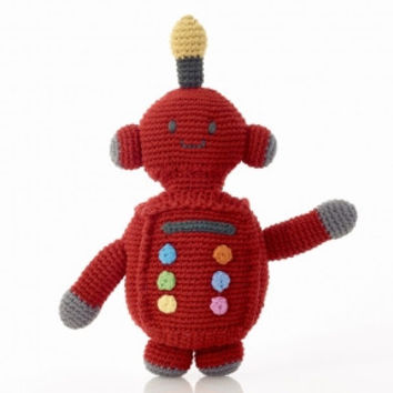 Red Fair Trade Robot Rattle