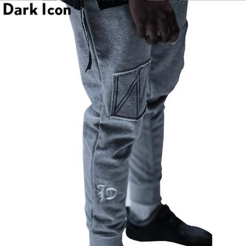 Letter Embroidery Front Patchwork Hip Hop Pants Men Full Length New Fashion Cool Design Sweatpants Men Harem Pants