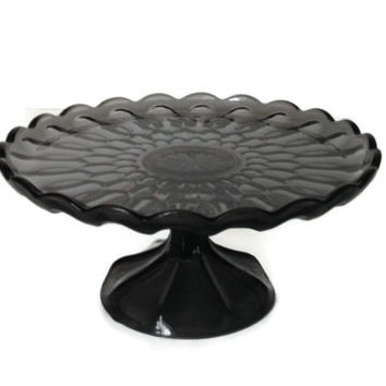 Anchor Hocking Pedestal Cake Stand Fairfield Pattern in Smoke Gray c1977