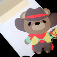 Teddy Bear Cowboy Kids Card, Bear Shaped Card, Teddy Bear, Cowboy