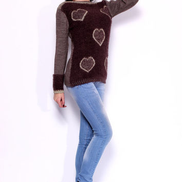 Valentines day women's sweater Knit Sweater brown sweater brown cardigan woman oversize sweater womens clothing trending items