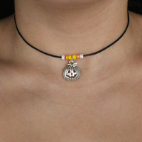 LIMITED EDITION! Leather Pumpkin-Candy Corn Halloween Choker.