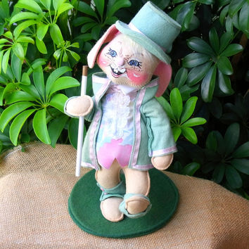 Vintage Annalee Dolls Marching Rabbit Wearing Top Hat and Tails Birthday Decor Baby Shower Decor Holiday Decor