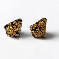 Vintage Gold Confetti Earrings Gold Flecked on Black Kite Shaped Stud Earrings