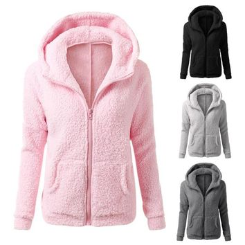 Cheap hoodie Winter Women Thicken Fleece Warm Long Hooded Sweatshirt Coat Zip-Up Outerwear Hoodies Jacket 4 Colors With Pocket