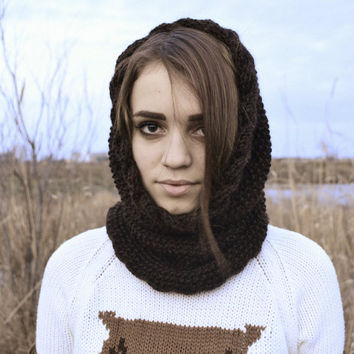 brown chunky cowl scarf, cowl hood, circle scarf, knit hooded cowl, brown scarf