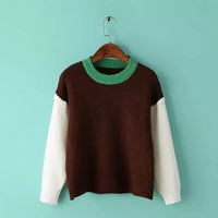 Block Knitted Pullover Sweater
