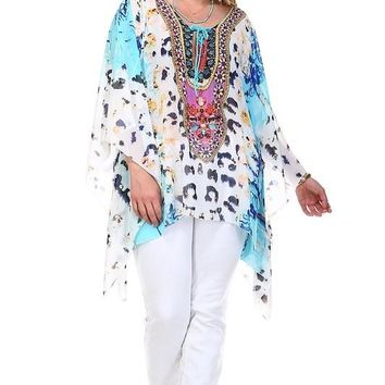 Plus Size White and Blue Caftan