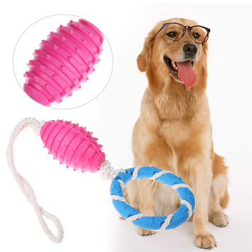Dog  Rubber Chew Toy Cotton Rope Pacifier Small Bell Training Play Molar Ring Pet Chew Toy For Dog Pet Supplies