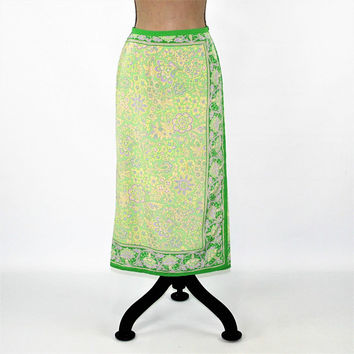Petite Maxi Skirt Women Large Hippie Boho Green Paisley Skirt Long Faux Wrap Skirt Size 12 Skirt 90s Vintage Clothing Womens Clothing