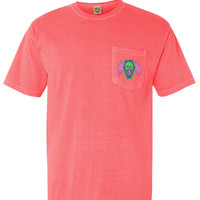 Flaming 8's Pocket Tee - Neon Red Orange