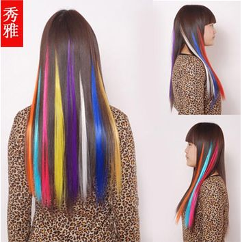 "1 Pcs/Lot Many Color New 25"" Straight Colored Colorful Clip-in Clip On In Hair Extension/Hair Piece Adult Fashions"