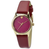 Elegant Watch with heart red face and band small size