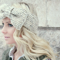 Knitted Bow Headband Gray Hand Knit Head Wrap Ear Warmer Seed Stitch Valentine's