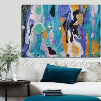 Turquoise Painting Print on Canvas, 60inch Huge Abstract, Colorful, Blue Painting, Lilac, Large Print, Ocean, Seascape, Sea Art Home Decor