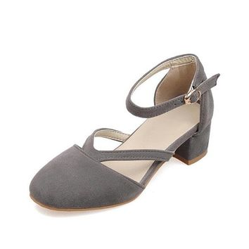 Streetstyle  Casual Big Size Suede Mary Jane Chunky Heel Elegant Shoes