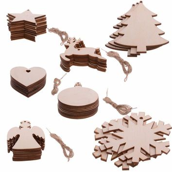10PCS/ Lot Snowflake Star Santa Claus Boots Bells Christmas Tree Hanging Wooden Ornaments