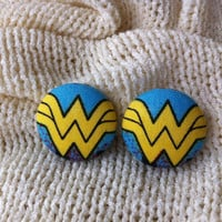 Wonder Woman Fabric Button Earrings, Covered Button Earrings, Superhero Earrings, Cosplay, Comic Con Earrings