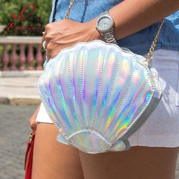Holographic Mermaid Shell Shoulder Bag