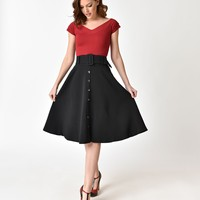 1950s Style Black Faux Button Up Belted Midi Skirt