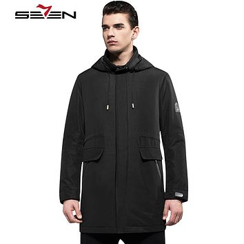 Men Smart Travel Jacket Hoodie Pockets Long Down Jacket Coat Waterproof Windbreaker Male Clothing