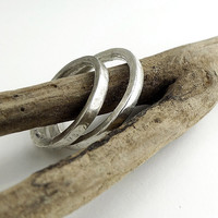 "RING ""Single Line"" in Sterling Silver. Wedding Band. Unisex. Minimalistic and Modern. Hammered and  Forged."