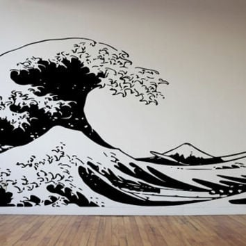 Japanese artist Katsushika Hokusai Style Modern Huge 86X40 Decal  Made To order Fast Production Shipping within 24 hours...Several Color Opt