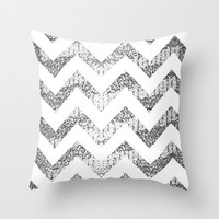 Silver Glittery Chevron Pattern Throw Pillow by Pink Berry Pattern