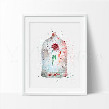 Cursed Rose, Beauty and the Beast Watercolor Art Print