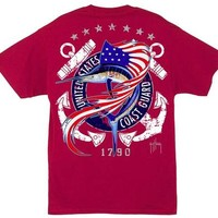 Guy Harvey U.S. Coast Guard Men's Back-Print Tee w/ Pocket in White or Red
