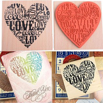 New Wood DIY Stamp Fashion Craft School Scrapbooking Decor Heart Shape Blocks Wooden Rubber Craved Printing Stamp