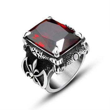 Fashion Retro Ruby Jewelry Stainless Steel 316l With Imitation Gemstone Rings For Men Natural Stone Big Size Mens Rings Anel