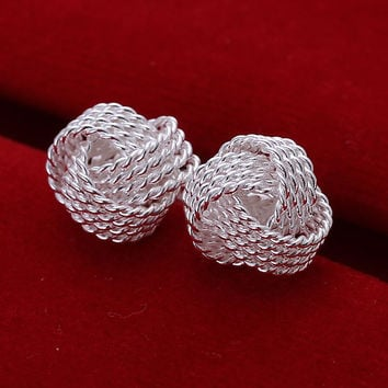 top quaility 925 sterling silver jewelry earring fashion net ball stud earrings free shipping
