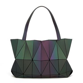 Folded Geometric Bag Women Baobao Noctilucent Bao Bao Bags Geometry Diamond Tote Folding Handbags Women Hologram Bags