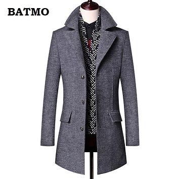 BATMO 2018 new arrival winter high quality wool thicked trench coat men,men's gray wool jackets ,plus-size M-3XL,0833