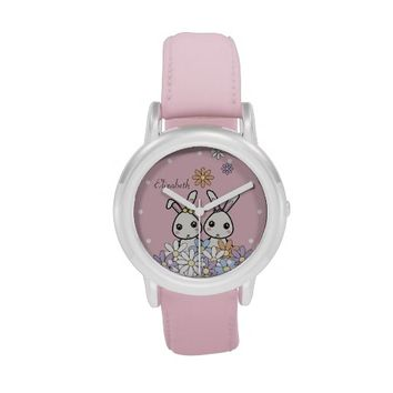 Personalized Cute Bunnies Kids Wrist Watches for Birthday or Easter: Gift Idea for Little Girl Twins, Sisters, or Best Friends