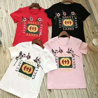 GUCCI Fashion women flower embroidery blouse T-shirt top-1