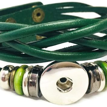 Hunter Green Cuff DIY Leather Bracelet Multiple Colors Available for 18MM - 20MM Snap Jewelry Build Your Own Unique