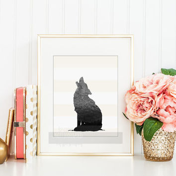 Fox Silhouette Print, Nursery Decor Wall Art with Fox Shadow, Animal Silhouette, Gift Ideas for Wedding, Housewarming, New Baby Gift