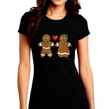 Gingerbread Man and Gingerbread Woman Couple Juniors Crew Dark T-Shirt by TooLoud