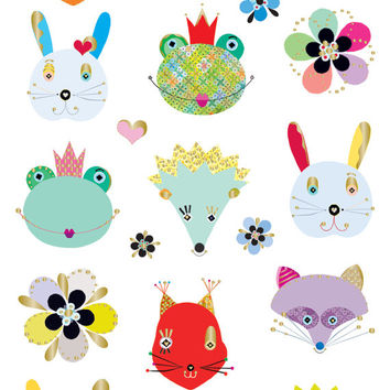 Woodland Frilly Faces Stickers • Woodland Birthday • Woodland Party • Woodland Sticker • Woodland Favor • Forest Critter (46885)