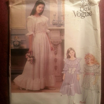Uncut 1970's Vogue Sewing Pattern, 1314! 12-14 Girls/Kids/Child/Loose Fitting & Flared Dress/Ruffle Puffy Sleeves/Elastic Waist/Formal