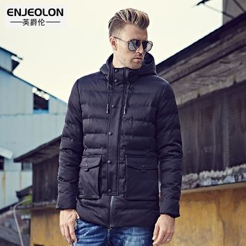 Cotton Padded Hooded Jacket Men windproof Parka black Men Clothing Zipper Thick Quilted Coat Men