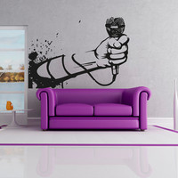 Wall Decal Vinyl Sticker Decals Art Decor Microphone Mic Melody Notes Song Singer Juzz Bedroom Dorm Lounge  Sound Living room Bar  ( r1336)