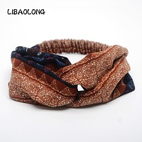 LIBAOLONG Retro Women Turban Headband Boho Ethnic style Crossed Elastic Striped Headbands for Women Hair Accessories
